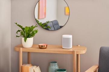 Smart speaker on shelf near mirror