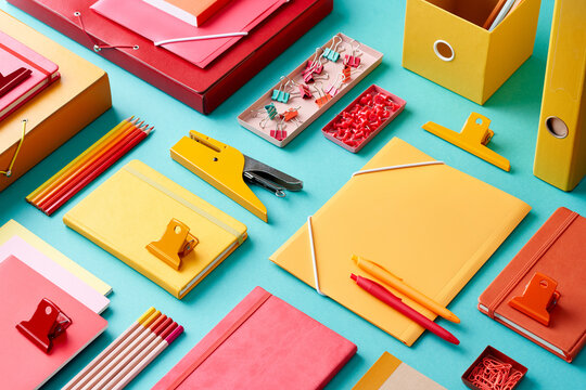 Composition of bright office supplies