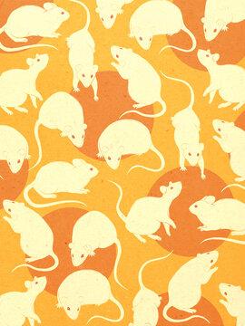 White rats pattern illustration artwork