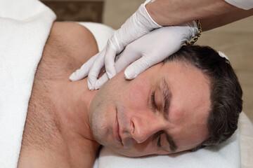 Neck pain relief. Chiropractic adjustment. Doctor and patiernt