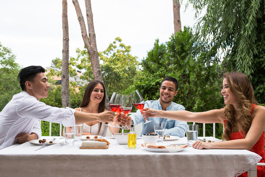 Friends clinking glasses at table in garden