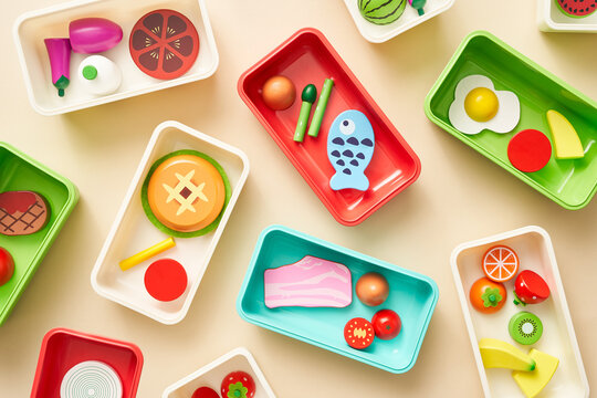 Assortment of colorful toy food