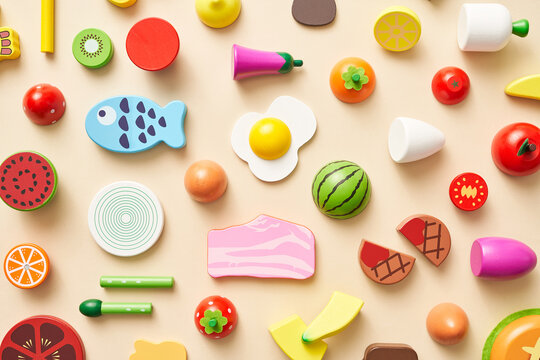 Various multicolored toy food for kids