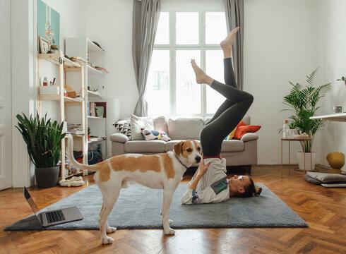 Young Girl Doing An Online Yoga Class