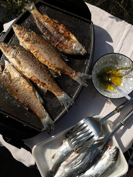 Fish on barbeque