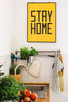 Stay Home poster in interior