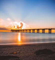 sunset on the beach pier florida sunny isles