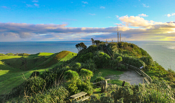 sunset in the mountains - Manukau Heads New Zealand