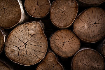 Natural round sawn wood birch logs, lumber texture