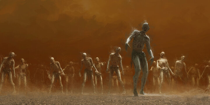 A horde of zombies crosses the desert wasteland.