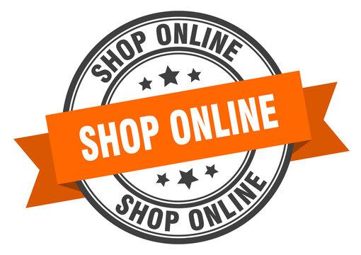 shop online label sign. round stamp. band. ribbon