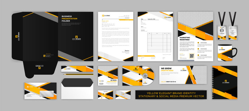 BRAND identity stationary & SOCIAL MEDIA modern Premium Vector design template set for corporate, office, finance and food industry with elegant orange color easy to edit