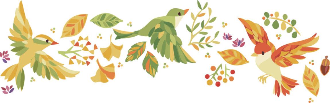 秋の紅葉 落ち葉、木の実、小鳥フレーム