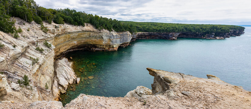 Landscape in Pictured Rocks National Lakeshore on Lake Superior in Michigan, USA
