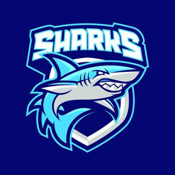 Sharks mascot logo design illustration