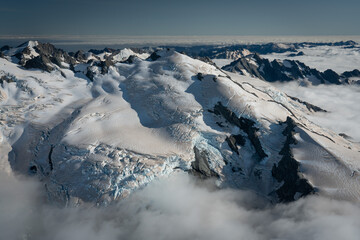 Mountains and ice glaciers in New Zealand Southern Alps