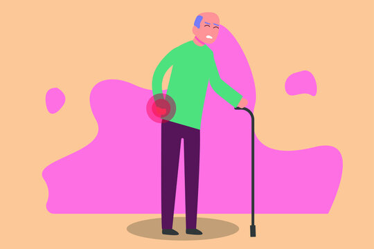 Sick vector concept: Elderly man having back pain while walking with a stick