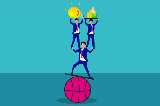 Business teamwork vector concept: Business team balancing on basketball while holding light bulb and money