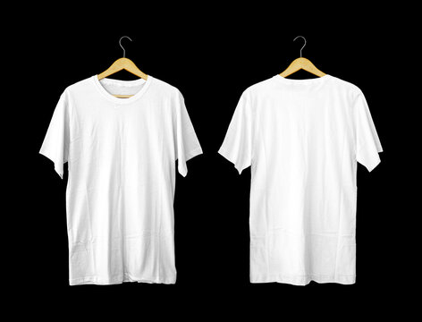 Short-sleeved white t-shirts for mockups. plain t-shirt with black background for design preview. Back and Front view t-shirt on hanger for display.