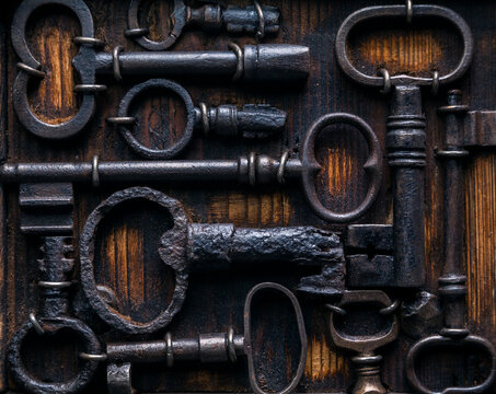 Background with rusty antique keys