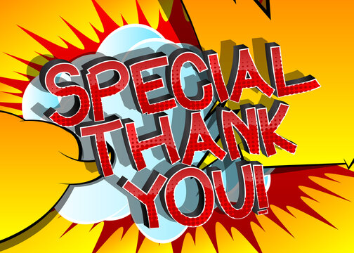 Special Thank You Comic book style cartoon words on abstract comics background.