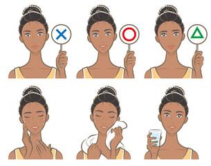 熱中症対策をしている女性のイラスト