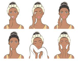 スキンケアをしている女性のイラスト