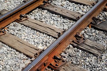 image of railway tracks closeup or detail of railroad