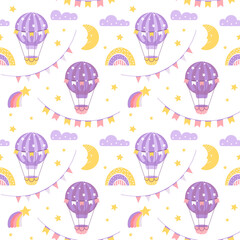 Seamless pattern wits air ballons. Fest background for wrapping paper, party flags, greeting cards back