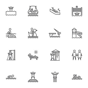 Water park line icons set, aqua park outline vector symbol collection, linear style pictogram pack. Signs, logo illustration. Set includes icons as swimming pool, shower, water slide attraction