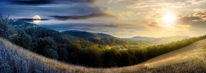 day and night time change concept above mountainous countryside. beautiful panorama of carpathians with sun and moon. valley of borzhava ridge in the distance. clouds on the sky