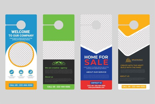Door hanger design template, hotel knob design. Vector door hanger.
