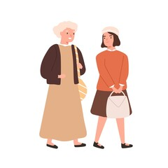 Schoolgirl and grandmother going to primary school together vector flat illustration. Girl student or pupil hurry to lesson with grandma isolated on white. Old woman accompany to cheerful female kid