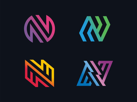 Set of vector letters N. A collection of technological logos in a linear style.