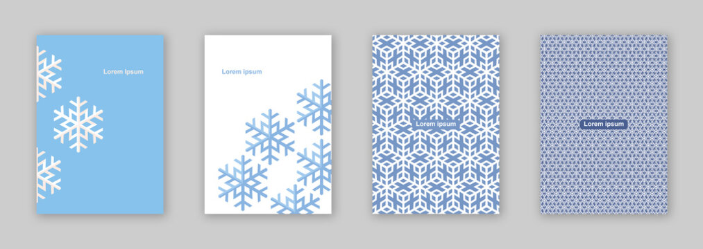vector set of four Baby Blue snowflake pattern brochure cover design / EPS 10