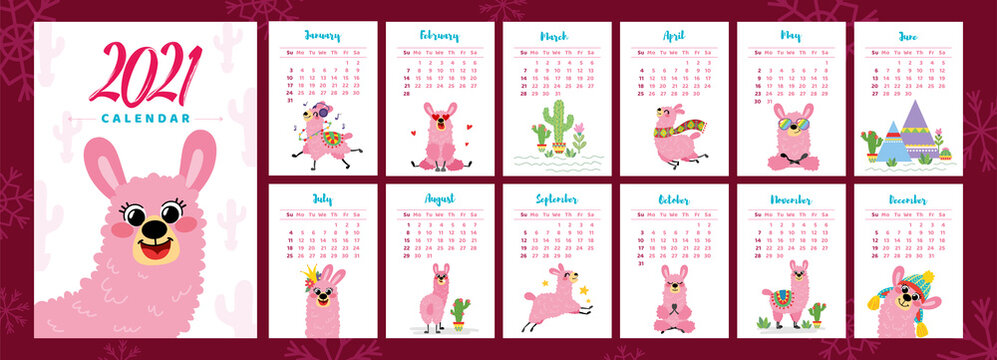 Calendar 2021. Vector basic grid with pink llamas. Cartoon alpaca in hand drawn style isolated on white background. Minimalistic calendar for the year for print with kids illustrations.