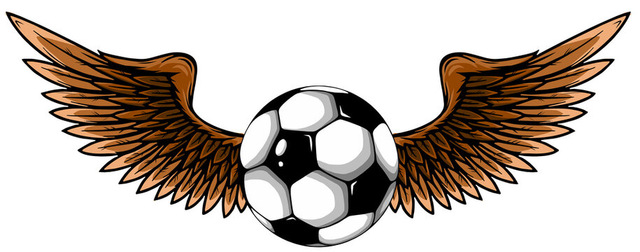 football ball with wings emblem soccer design vector