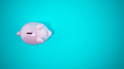 Pink piggy bank on cyan background. Top view. 3D Rendering