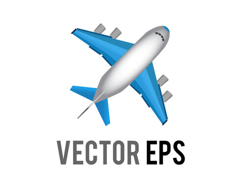 Vector white literal airplane emoji icon with blue wings and engines