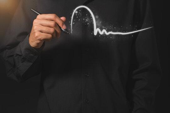 Business people write digital signatures