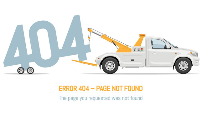 404 error page not found design with tow truck on white background. Webpage banner, search result message vector illustration