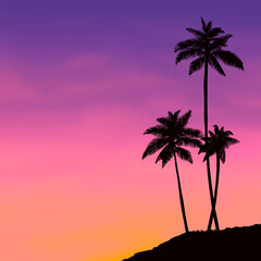 Sunset palm trees landscape illustration