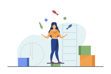 Woman balancing and juggling with skittles and balls. Gym, circus, juggler flat vector illustration. Performance and training concept for banner, website design or landing web page