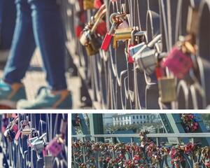 Bunte Liebesschlösser an einer Brücke in Frankfurt am Main