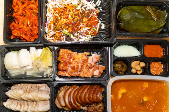 bossam set, boiled pork with side dishes, one of Korea's delivery foods
