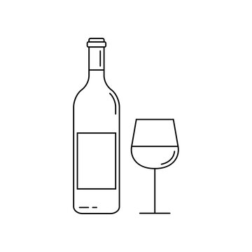 Wine bottle with wine glass line icon. Outline silhouette. Vector illustration.