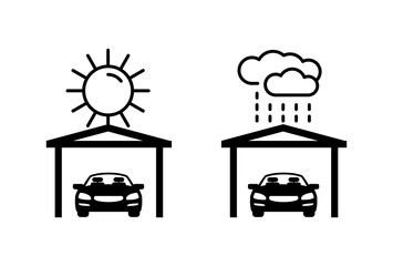 Fototapeta Carports - automobile protection from ultraviolet light and rain - isolated monochrome vector icons obraz