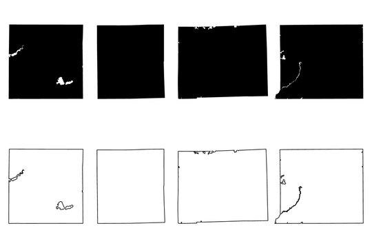 Washtenaw, Wexford, Shiawassee and St. Joseph County, Michigan (U.S. county, United States of America, USA, U.S., US) map vector illustration, scribble sketch map