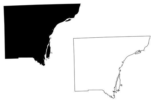 Wayne County, Michigan (U.S. county, United States of America, USA, U.S., US) map vector illustration, scribble sketch Wayne map