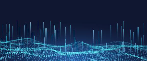 Abstract futuristic background with binary code.Digital binary data.A stream of binary matrix code. Papier Peint